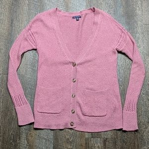 Pink Button Up Cardigan Sweater Knit AEO